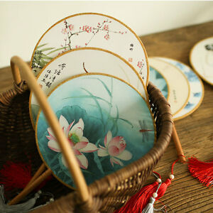Retro Chinese Palace Art Round Craft Gift Ladies Classical Dance Fan Hanfu
