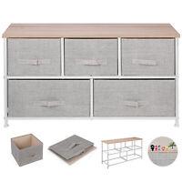 5-Drawer Dresser Storage Closet W/ 5 Removable Fabric Drawers Wide Bamboo Shelf