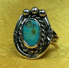 Vintage Antique Native American Fine Sterling Silver Turquoise Ladies Ring