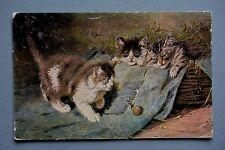 R&L Postcard: Cats Kittens Snail, Hildesheimer 1903
