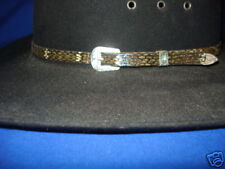 Rattlesnake Skin 3/8 hatband with 3 piece silver set