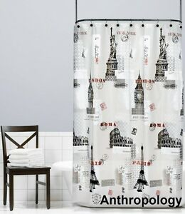 Anthropology PEVA Shower with Eiffel Tower, Colosseum, Big Ben