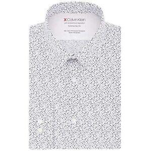 Calvin Klein Men's Collared Long Sleeve Printed Dress Shirt (White, 16X32-33)