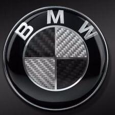 BMW Carbon Fiber Car Emblem Chrome Front Badge Logo 82mm 2 Pins Hood/Trunk
