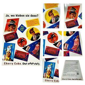Vintage 80's Cherry Coke Sticker Sheet Retro Coca Cola Collectible German