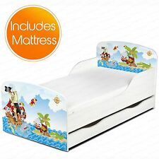 PIRATES MDF TODDLER BED + FULLY SPRUNG MATTRESS WITH UNDERBED STORAGE NEW KIDS