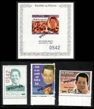 Philippines SPECIMENS - 1986 Ninoy Aquino, 3v + Souvenir Sheet, MNH OG