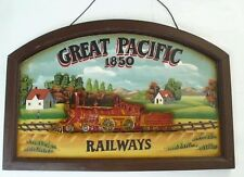 Rare Great Pacific 1850 Railways Wood Carving and Painting Train is Bold Relief