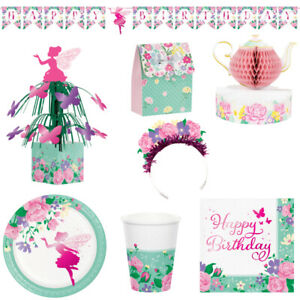 Fairy Floral Themed Party Tableware and Decorations - For Kids