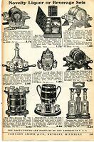 1935 Print Ad of Novelty Liquor Beverage Sets Keg, Book, Barrel, Decanter