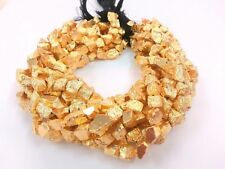 "Natural Gold Pyrite Nugget Tumble 7-9mm, 5""inch Gemstone Beads"