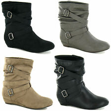 Faux Suede Wedge Spot On Boots for Women