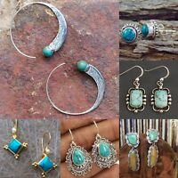 Antique Women Turquoise Wedding Engagement Earrings Silver Jewelry Drop Hoop