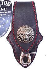 Biker Skull Indian Trucker Red Stitch Leather Belt Clip Keychain Key Holder