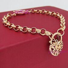 Real Solid 18k Rose Gold GF Bolt Ring Chain Heart Clasp Padlock Bracelet Bangle