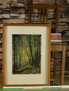 Helmut Volland älteres Knitter Aquarell von 1980 im Hochwald Landschaft Bäume