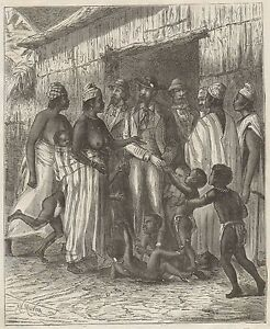 C1012 A Visit To King of The Dakar - Xylograph Period - 1879 Vintage Engraving