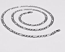 "14kt Solid White Gold Mens Figaro curb link chain/Necklace 20"" 3.8 mm 10 grams"