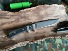 Messer/ Outdoormesser Vehement Knives Oxus, CPM 3V, Micarta, blaue Liner, selten