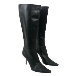 Jimmy Choo Womens Size EUR 40 US 9 Black Leather Pointed Toe Knee High Boots