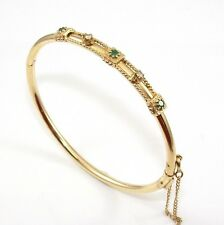 Solid 14K Yellow Gold Natural Emerald Diamond Hinged Bangle Bracelet ZD
