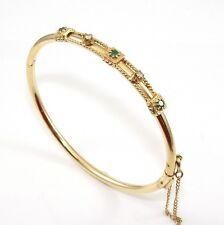 Solid 14K Yellow Gold Natural Emerald Diamond Hinged Bangle Bracelet ZD