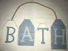 BATH Blue & White Nautical Pirate Boat Theme Hanging Plaque Sand Gift Sign