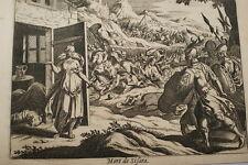 GRAVURE SUR CUIVRE MORT DE SISARA-BIBLE 1670 LEMAISTRE DE SACY  (B60)