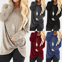 UK Women Long Sleeve Solid Casual Blouse Ladies Vintage Tops Shirt Pullover Plus