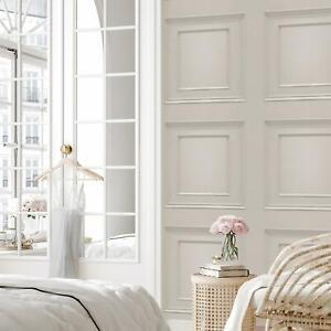 Oliana 3D Effect Wood Panel Grey/Cream 8493 Belgravia Wallpaper Feature Wall