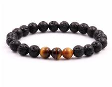 UK Anxiety Stress Relief Lava Stone/Tigers Eye Gemstone Bead Bracelet Luck Calm