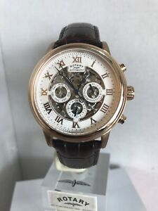 Rotary Men's Rose Gold PVD Skeleton Automatic Leather Strap Watch GS00244/01