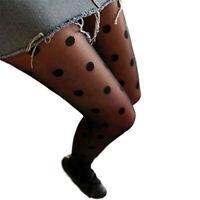 Chaussettes collantes sexy en dentelle noire à pois pour femmes