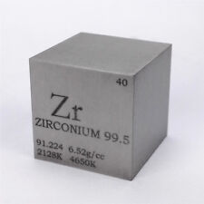 1 inch 25.4mm Zirconium Metal Cube 99.5% 107g Engraved Periodic Table