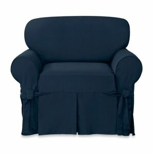 Sure Fit Designer Twill chair Slipcover Navy blue color slip cover