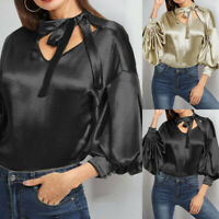 UK Women Look Stain Long Puff Sleeve Bow Tie Top Party OL Shirt Blouse Plus Size