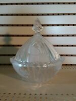Cut Glass Crystal Candy Dish Bowl w/ Cover Frosted Floral Pattern