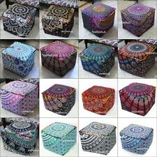 """18"""" Indian Mandala Square Ottoman Handmade Pouf Cover Footstool Seating Cover"""