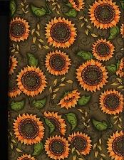 Sunflower Fiesta cotton quilt fabric by P&B  BTY Sunflower on Green Tonal