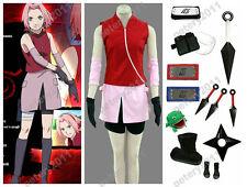 Naruto Shippuden Sakura Haruno Children Adult Cosplay Costume Women's