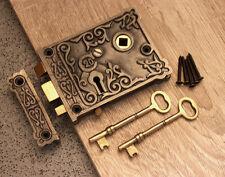 Victorian Style Antique Cast Iron & Brass Door Rim Lock Floral Design