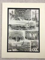 1875 Antico Stampa Sheffield Cutlers Hall Firth Park Local Storia Royal Visita