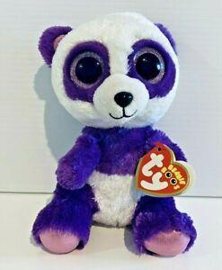 Boom Boom Panda Ty Beanie Boos Purple White with Tag 15cm Plush Cute