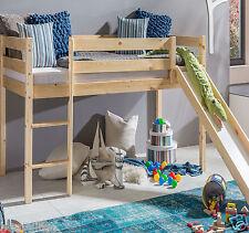 Kinderbett Hochbett mit rutsche Leiter Hochbett Spielbett Kiefer Massiv  Bett ..