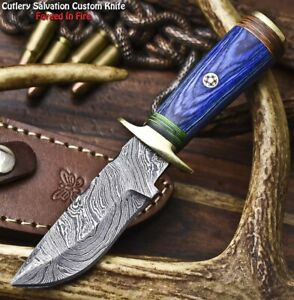 Rare Custom Hand Made Damascus Steel Blade Miniature Knife | HARD WOOD