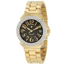 Lancaster Womens Diamond Accented Black Dial Gold Tone Stainless Steel Watch