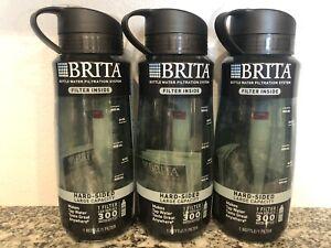 Brita Filtered Water Bottle, Hard Sided, LARGE, Black, 34 Oz. - 3 Bottles! - NEW