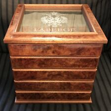 FabergÉ Maple Burlwood Storage Flatware Chest with glass top