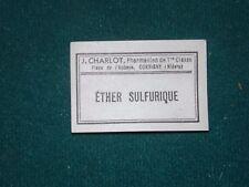 Scrabooking - ( ÉTHER SULFURIQUE) lot de 20 d'anciennes de Etiquettes Pharmacie
