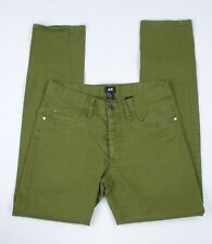 H&M Women Jean Pants Size US 30 Green Slim Straight Stretchy Mid Rise FLAW